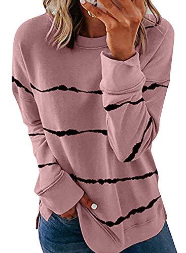 ZKESS Womens Casual Loose Crewneck Long Sleeve Sweatshirts Tie Dye Soft Thin Pullover Blouses Shirt Tops Pink L 12 14