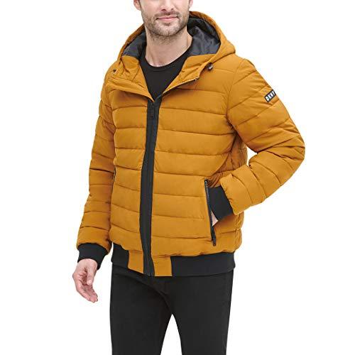 DKNY Herren Quilted Performance Hooded Bomber Jacket Daunenalternative, Mantel, Gold Matt Stretch, Medium