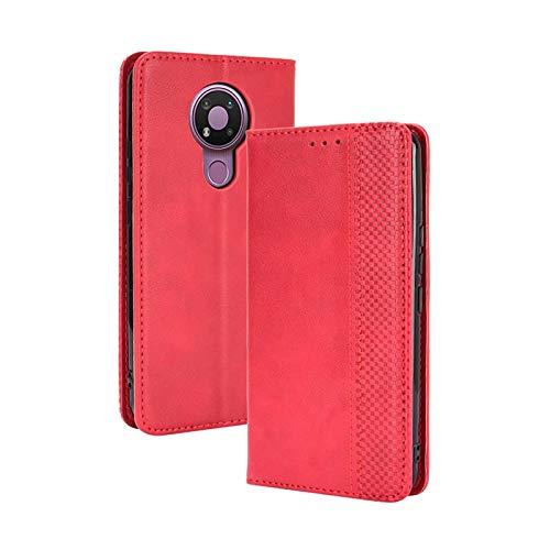 TOPOFU Leder Hülle für Nokia 3.4, Premium Flip Wallet Tasche mit Ständer & Kartenfächer, PU/TPU Magnetic Lederhülle Handyhülle Schutzhülle für Nokia 3.4 (Rot)
