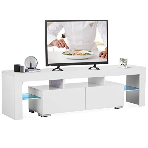 Mecor White TV Stand, Modern LED TV Stand w/12 Colors&Remote Control Lights,High Gloss TV Cabinet w/Storage&2 Drawers,65 Inch Entertainment Center for Living Room