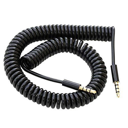 N4U Online® Spiralkabel für Doogee Nova Y100X, 1 m, Schwarz