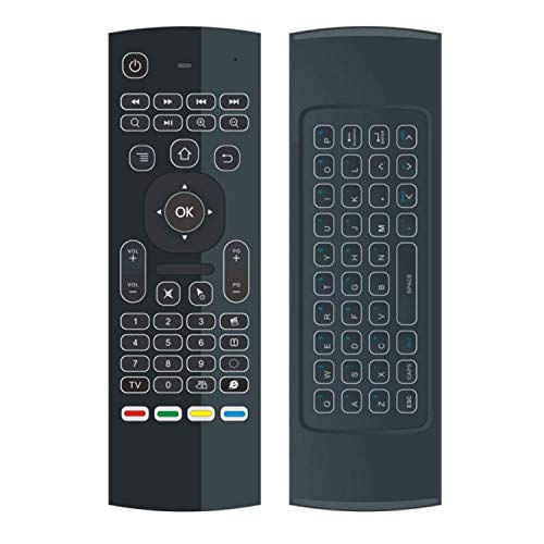 DealMux MX3 Air Mouse retroiluminado Control remoto 2.4G RF Teclado inalámbrico para TV Box Android X96 KM9 A95X H96 MAX