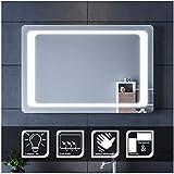 SIRHONA Rettangolo Specchio da Bagno LED Illuminato a Parete, 900 x 600mm Specchio per Il Trucco Sospensione Specchio con Interruttore a Infrarossi e Anti-Appannamento Dispositivo