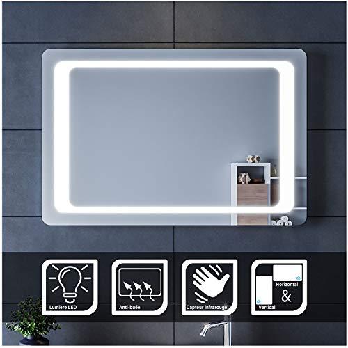 SIRHONA LED Espejo de Baño 60x90cm Espejo de Baño con Iluminación LED Espejo de Luz de Baño con Interruptor Senor IR Más Segura de Controlar Espejo con Función Anti-vaho