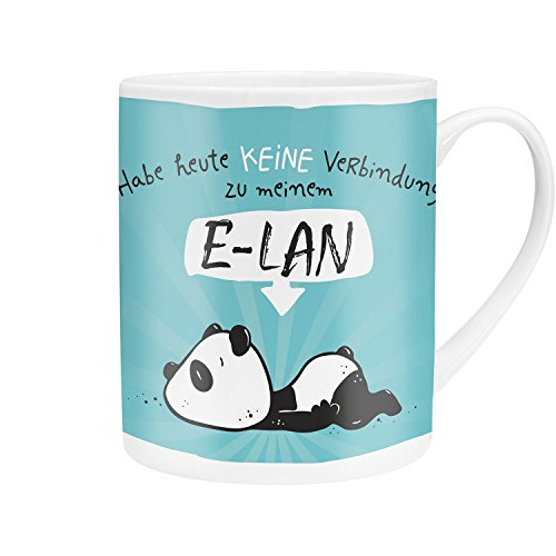 Hope & Gloria 45673 XL Jumbo Panda-Motiv E-LAN, Kaffee, Porzellan, 60 cl, mit Geschenk-Banderole, Blau Tasse