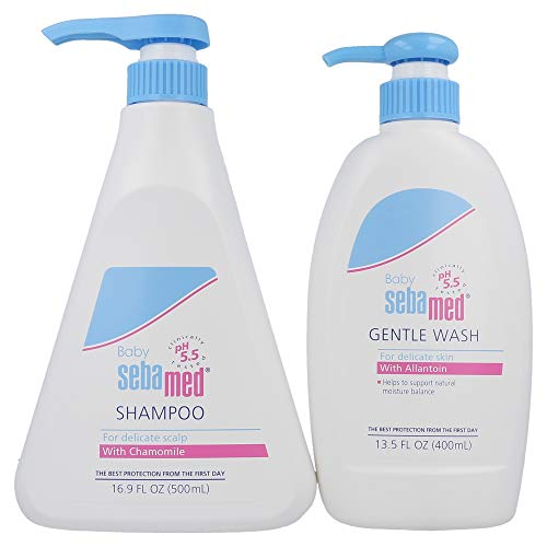 Sebamed Baby Gentle Wash Extra Soft (400mL) and Sebamed Baby Shampoo (500mL) Ultra Mild Hydrating Cleanser for Delicate Baby Skin and Scalp Value Pack Bundle