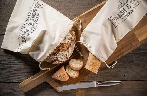 STAWOXX Lot de 2 sacs à pain et à baguette 100 % coton – Sacs réutilisables pour longue conservation – Sac à pain tissu