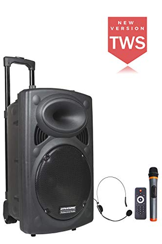 DYNASONIC - Dynapro 12 - Altavoz Inalámbrico Sistema Audio Profesional Megafonia Portatil TWS | Lector USB Bluetooth Radio FM y Micrófonos, Color Negro (DYNAPRO 12)