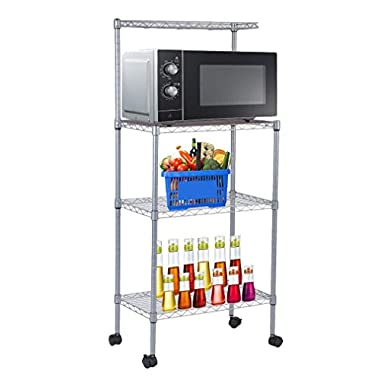 Homgrace 3-Tier Kitchen Baker's Rack with Wheel, Kitchen Storage Shelving, Stainless Steel Demountable Microwave Oven Stand