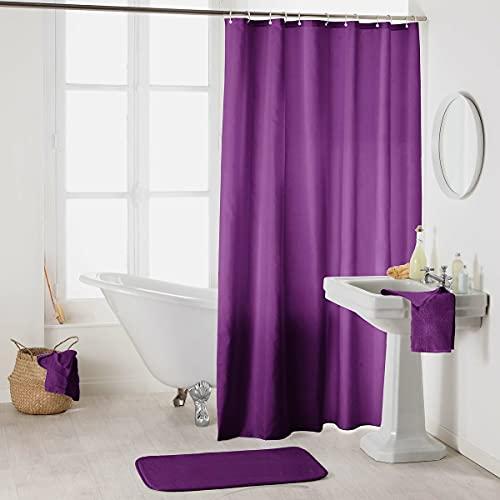 Sanixa Duschvorhang Textil 180x200 cm Uni Lila Pflaume Aubergine wasserabweisend waschbar Badewannenvorhang Vorhang hochwertige Qualität mit Ringen Metallösen