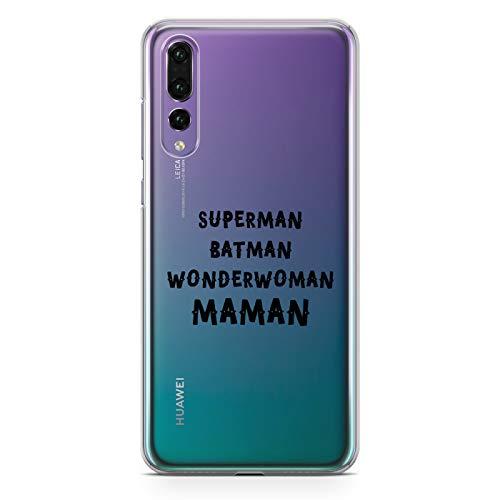 ZOKKO Coque P20 Pro Superman Batman Wonderwoman Maman - Souple Transparente Encre Noir