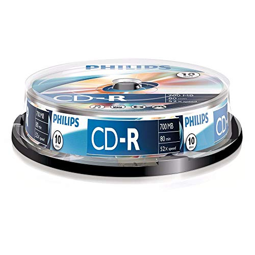 Philips CR7D5 NB10/00 CD-R - Discos vacios, 50 x 700 MB, 80 minutos, 10 piezas