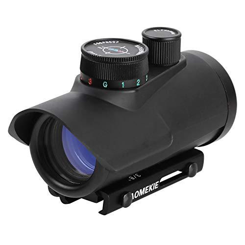 AOMEKIE Red Dot Softair Multi Regolabile Luminosità Punto Illuminato 4 Reticles Green & Red Reflex Sight Tattico Mirino Accessori Ottica Riflesso Lente per 20mm/22mm Rail Prisma