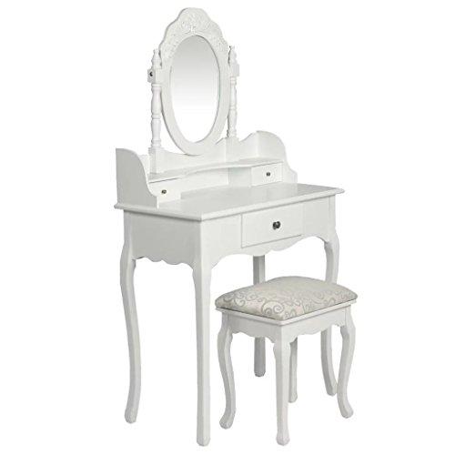Festnight Coiffeuse Table de Maquillage avec Miroir et Tabouret Bois Blanc 40 x 30 x 47 cm