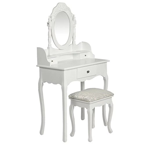 Cangzhoushopping make-uptafel met spiegel en kruk wit meubels kasten was- en kaptafel kaptafel