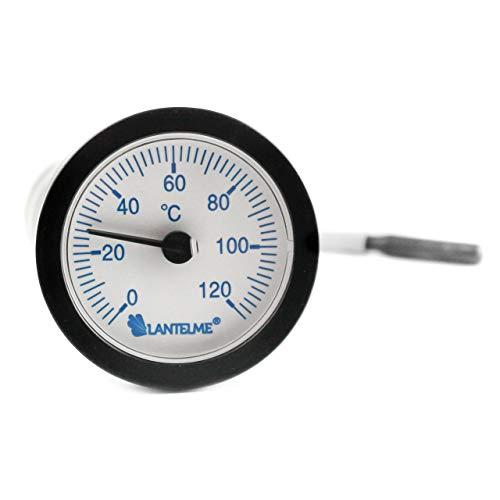 Lantelme Kapillarthermometer Heizung 1,55 Meter Fühlerlänge Heizungskessel Kaltwasser Analog Thermometer Skala blau 6750