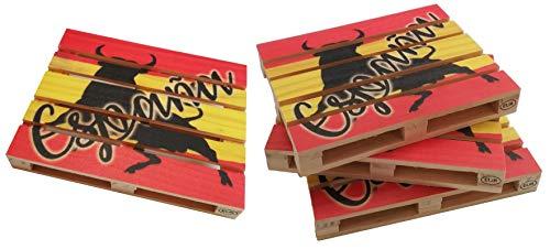 Gerileo onderzetters Europallet Spanje – verpakking met 4 – 6 miniatuurpallets van hout met Spaanse vlag, geschikt voor bars, thuis en op kantoor.
