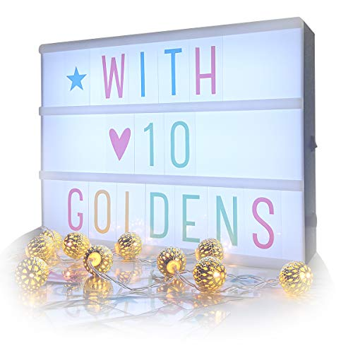 Caja de luz de cine con letras, Sanyan Cinematic Marquee Sign LED Light Up Message Board con 95 letras, símbolo de números y 10 luces de cadena de globo, USB o batería (negro)