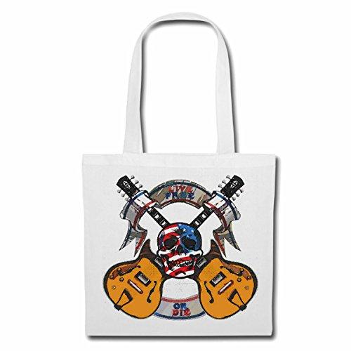 Tasche Umhängetasche LIVE Free OR DIE Skull Amerika Gitarre Techno Jazz Funky Soul Trance Festival House Hiphop HIP HOP DJ Einkaufstasche Schulbeutel Turnbeutel in Weiß