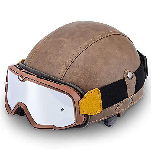 Casco de cuero de PU con gafas retro, personalidad masculina y femenina casco de motocicleta Harley motocicleta retro bicicleta eléctrica medio casco + protector facial (54-61 cm) marrón claro