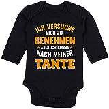 Shirtracer Sprüche Baby - Ich versuche Mich zu benehmen Aber ich komme nach meiner Tante orange - 3/6 Monate - Schwarz - ich versuche Mich zu benehmen Tante - BZ30 - Baby Body Langarm