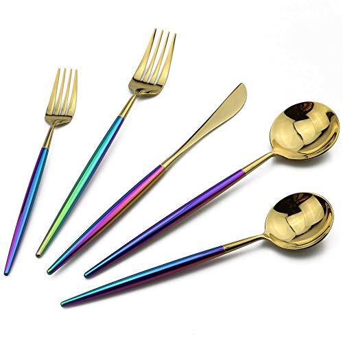 Yywl - Juego de cubiertos de acero 18/10, diseño de arcoíris
