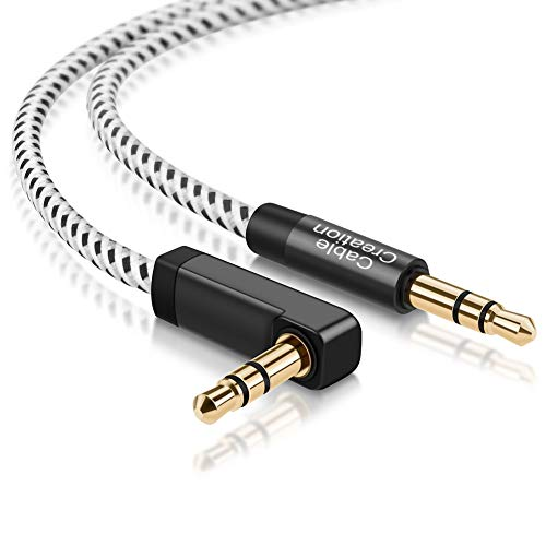CableCreation Aux Cable 10FT, 3.5mm Auxiliary Audio Cable 90 Degree Right Angle Compatible with iPhone, iPod, iPad, Samsung, Smartphones, Tablets, Speakers & More, 24K Gold Plated -3M