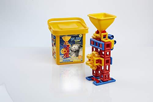 Plasticant Mobilo 260 Flow - Set básico de 48 Piezas en Cubo (Incluye Instrucciones de construcción, 2 Ruedas de Pala, 1 Embudo con Pala Deslizante 260-Flow), Color Rojo, Amarillo y Azul
