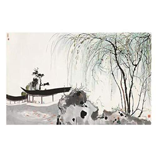 Tuschemalerei des chinesischen Stils Moderne Neue handgemalte abstrakte Wandtapete des neuen chinesischen Stils