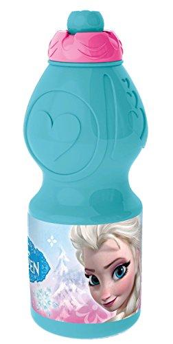 POS 24807 - Trinkflasche mit Disney Frozen Motiv, mit Sportverschluss, Fassungsvermögen ca. 400 ml, aus Kunststoff bpa- und phthalatfrei, für Mädchen, für Sport, Schule und Freizeit, sortiert