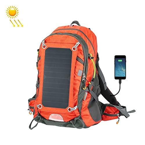 Solar Rucksack 7W Solarpanel, Mit Radfahren Wasser Tasche Solar Ladegerät Laptop Rucksack Solarrucksack, Geeignet Für Outdoor, Smartphone-Aufladung,Orange
