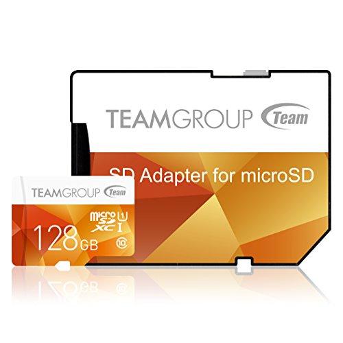 Team Group Micro SD 2 GB con Adaptador SD Tarjeta de Memoria 128 GB Class 10 UHS-I Amarillo