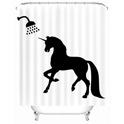 X-Labor Lustig Tier Schatten Duschvorhang 240x200cm Wasserdicht Anti-Schimmel Polyester Textil Stoff Badewannevorhang Shower Curtain Einhorn 240x200cm