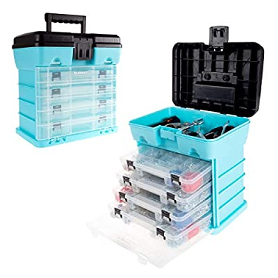 Storage and Tool Box-Durable Organizer Utility Box-4 Drawers, 19 Compartments Each for Hardware, Fish Tackle, Beads, and More by Stalwart (Light Blue)
