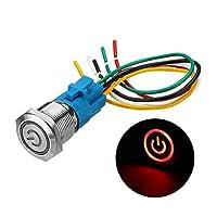 ZhaoXin Chen 19ミリメートルメタル防水12 / 24V 5ピンのON-OFF押しボタンスイッチLED電源スイッチ (Color : Red, Size : 12V)