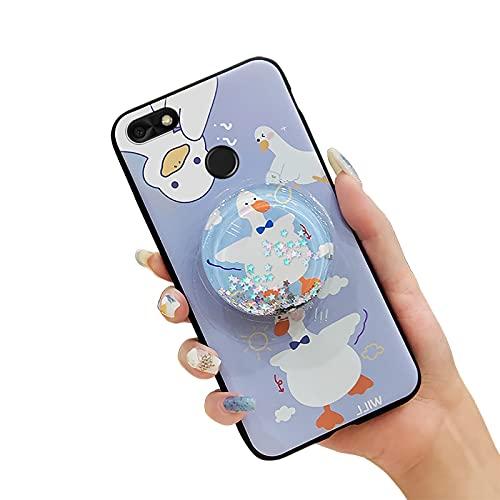 Lulumi - Funda de teléfono para Huawei Enjoy 7/Y6 Pro 2017/P9 Lite Mini, diseño de pata de pie, antigolpes, antipolvo, reducción de la tensión, silicona con purpurina de TPU, diseño de pato azul