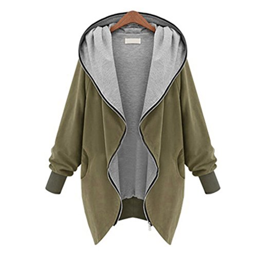 KESEE Clearance Coat ? Womens Zipper Hoodie Jacket Parka Trench Coat Windbreaker Slim Outerwear (4XL, Khaki)