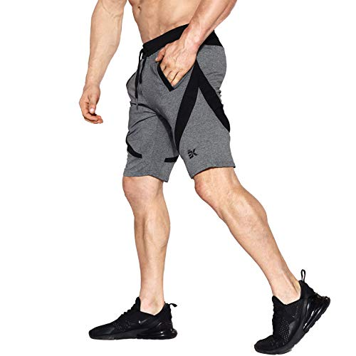 Pantalones Cortos Zenwow para Hombres. Para el Gimnasio y para hacer Deportes. Pantalones Cortos con Malla Ajustada y Bolsillos. , negro, medium