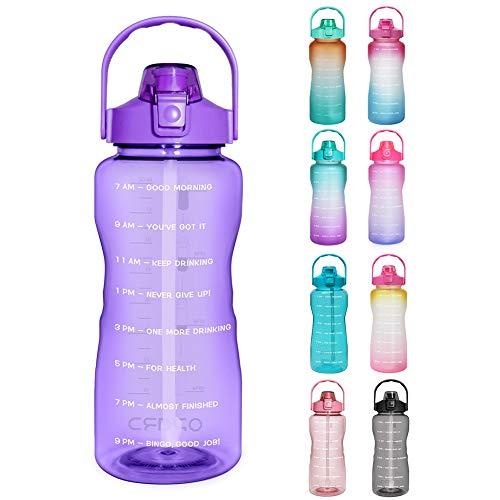 Opard Trinkflasche, BPA Frei Wasserflasche mit Strohhalm, 1-klick Verschluss Auslaufsichere Water Bottle, Zeitmarkierung Sportflasche (Lila)