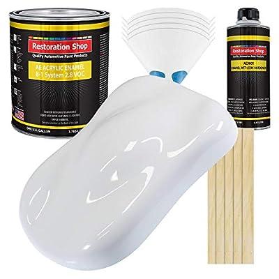 Restoration Shop - Winter White Acrylic Enamel Auto Paint - Complete Gallon Paint Kit - Professional Single Stage High Gloss Automotive, Car, Truck, Equipment Coating, 8:1 Mix Ratio, 2.8 VOC