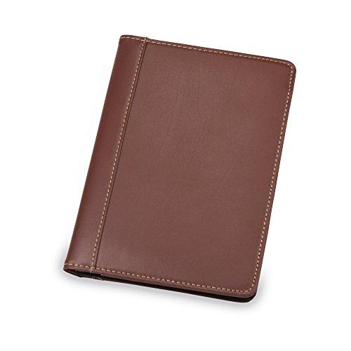 Samsill Contrast Stitch Leather Small Portfolio - Junior Portfolio Folder / Business Padfolio for Men & Women, 5 x 8 Mini Writing Pad, Brown