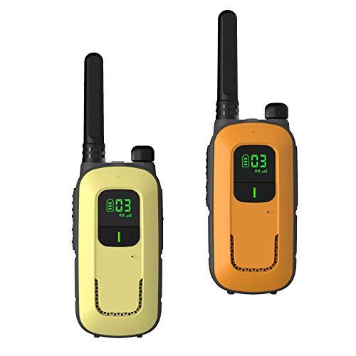 Radioddity Walkie talkies PR-T3 sin Licencia, Recargables, para niños de Entre 3 y 12 años y familias, Tienen 16 Canales, VOX, Linterna, Pantalla LCD iluminada, Carga por USB (Naranja / Amarilla)
