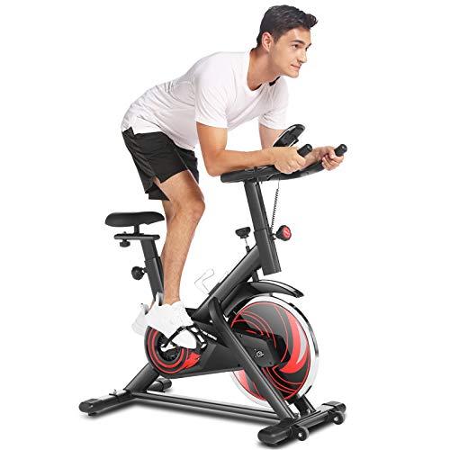 ANCHEER ergometer heimtrainer fahrrad 150 kg belastbar Fitnessclub mit App-Verbindung, Fitnessbike mit einstellbarem Widerstand, Herzfrequenzsensoren, LCD und Getränkehalter