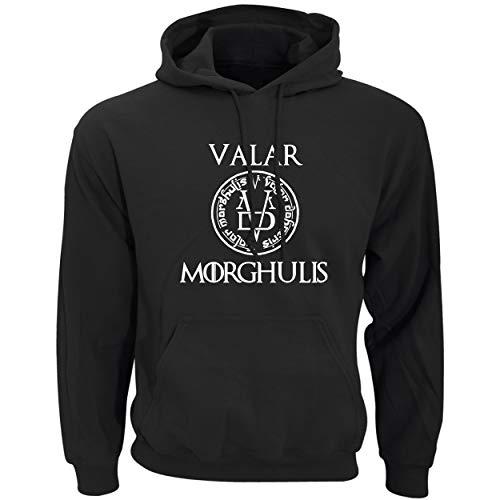 Game of Thrones Valar Morghulis Sweat à Capuche Hommes Imprimer Pull Sweatshirt Manche Longue Vêtements de Sport pour Couples avec Grosse Poche Hoodies Homme Unisexe (1,EUL(AsianXL))