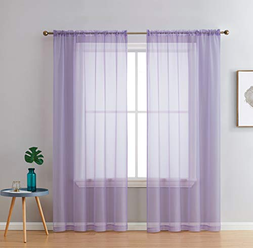 HLC.ME Light Purple Sheer Voile Window Treatment Rod Pocket Curtain Panels for Bedroom and Living Room (54 x 84 inches Long, Set of 2)