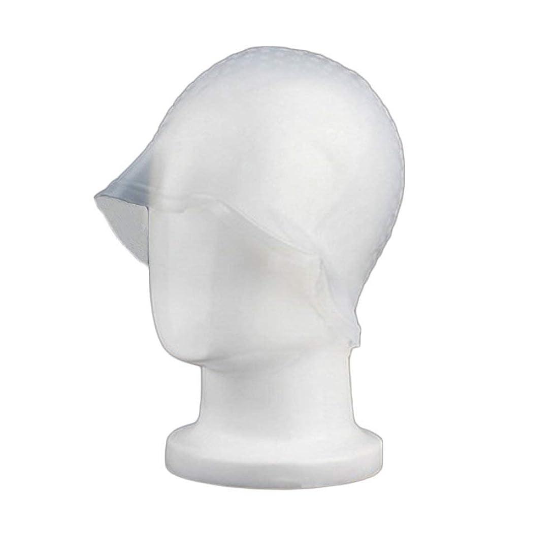 転用ビスケットSincerestore 洗って使える ヘアカラー 染め用 メッシュ 用 シリコン ヘア キャップキャップ (ホワイト)