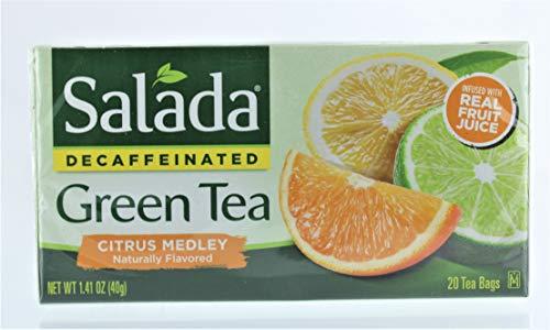 Salada Naturally Decaffeinated Original Antioxidant Green Tea Bags Citrus Medley 20 CT (Pack of 6)