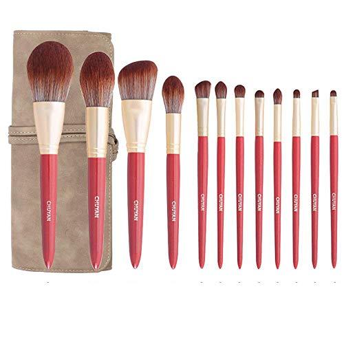 Ensemble De Pinceaux De Maquillage Pinceau Fard À Paupières Professionnel Ultra Doux Blush, Red Snow Moon 12 A
