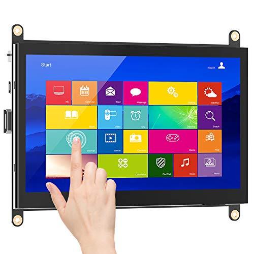 Raspberry Pi Touchscreen Monitor, HMTECH 7 Inch Portable HDMI Monitor LCD Touch Screen IPS Display Computer Monitor 1024X600 for Pi 400 4 3 Model B, 2 Model B, 1 Model B+, Windows 7/8/10, Drive-Free
