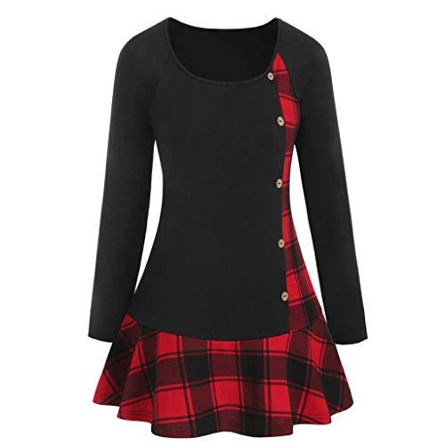 Eaktool Tunique plissée à Carreaux pour Femme Grande Taille Rouge XX Large
